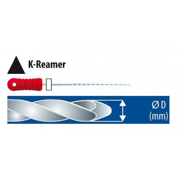 Ace K-Reamers 25 mm, 6 bucati